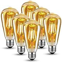✅ Gute Technologie—— Besteht aus transparentem Kristallglas, Vakuum innen, gefüllt mit Helium, dadurch die vintage Edison LED glühbirne hat geringen Licht-Verlust und längere Lebensdauer. ✅ Niedriger Energieverbrauch —— Helligkeit von 4W E27 LED Edis...