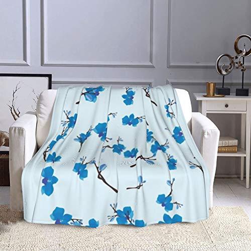 Manta de sofá de flores azules, manta ligera de viaje, manta de béisbol de franela para bebés/niños/jóvenes