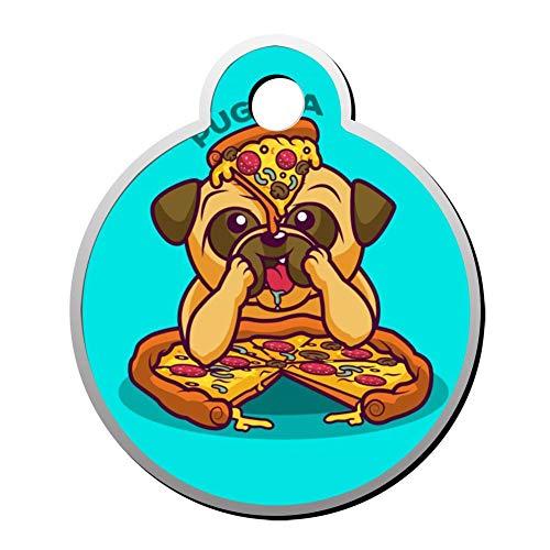 Aanpasbare ronde vorm ID labels, creatieve Bulldog met Ham Pizza gepersonaliseerd dubbelzijdig bedrukte huisdier informatie kraag voor kat hond