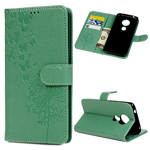 Moto G6 Play Case, Wallet Flip Folio Case Kickstand Card Slots Wrist String Embossed Dandelions Butterflies PU Leather Wallet Cover Shockproof Soft TPU Rubber Bumper Slim Phone Case for Moto G6 Play