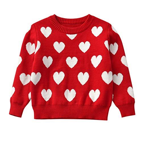 Pistazie - Sudadera de invierno para niño, niña, Navidad, jersey de punto de manga larga para bebé, diseño animado rojo L
