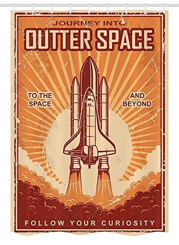 Yeuss Vintage Stall Duschvorhang, Vintage Space Shuttle auf Grunge zerkratzte Planet Earth Karte Sterne Cosmos Galaxy, Stoff Badezimmer Dekor Set mit Haken, rot-orange