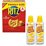 Variety pack includes 1 family size box of RITZ Original Crackers and 2 cans of Easy Cheese Cheddar Spray Cheese Flaky and delicious snack crackers with an easy-to-use spray cheese Perfect pairing of cheese and crackers for snacking or appetizers Pai...
