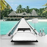 Mhshm 3D 壁画壁紙 海辺の風景 木橋 自然風景 リビングルームとベッドルームの壁画の家の壁の装飾 3D テレビの背景の壁-140cmx100cm
