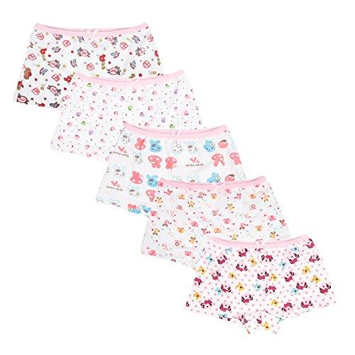 YASSON YASSON 5Pcs Kleinkinder Unterwäsche Set Baby Mädchen Unterhose Bequem Weich Mit Süß Cartoon Aufdruck Kleine Schleife 2-12 Jahre