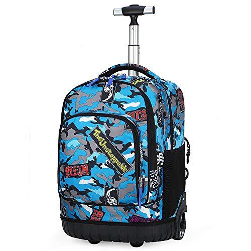 YFYBF Rotolamento Zaino Leggero Laptop Bag per Viaggi d'Affari scolastici Bambine Ragazzi delle Ragazze dei Ragazzi Scuola Sacchetto Multifunzionale Wheeled Backpack,Navy Camouflage