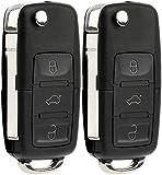 KeylessOption Keyless Entry Remote Control Car Uncut Blade Flip Key Fob for VW NBG010180T (Pack of 2)
