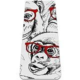 Eslifey Funny Monkey Gorila Glasses Patern - Esterilla de yoga gruesa antideslizante para mujeres y niñas (72 x 24 pulgadas, 1/4 pulgadas de grosor)