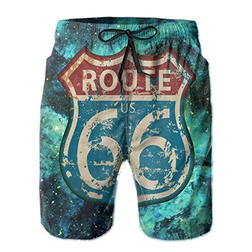 America Highway Travel Lifestyle Route 66 Pantalones cortos cómodos para hombre Pantalones cortos de playa de moda con cintura elástica y bolsillos Pantalones cortos de verano M Pantalones cortos de v