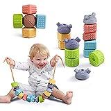 TUMAMA 18pcs Baby Blocks Giocattoli 6-12 Mesi String Allacciatura Beads Set apprendimento ...