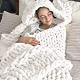 ZHIBESCHOS Chunky Knit Blanket Chenille Throw-Boho Home Decor Luxurious and Comfortable(White 40'x47')