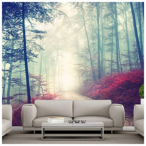 red wall murals amazon co ukazutura magical red road wall mural misty forest tree photo wallpaper living room decor available in