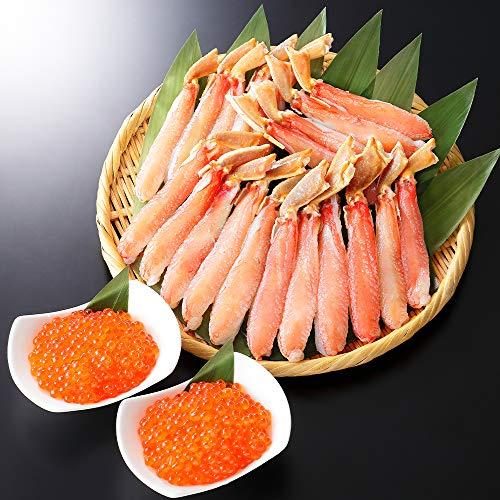 ズワイガニ ポーション 500g & いくら 醤油漬け 80g 2個 イクラ 刺身 カニ 北国からの贈り物