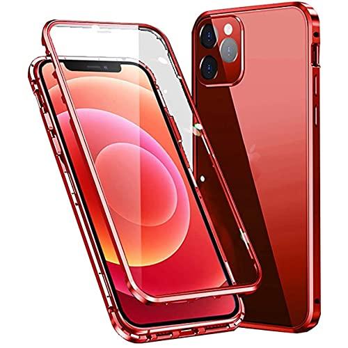 Funda para iPhone 12 magnética de 360 grados para cuerpo completo, antigolpes [con protección para objetivo de la cámara] parte trasera y delantera transparente cristal templado antiarañazos,rojo