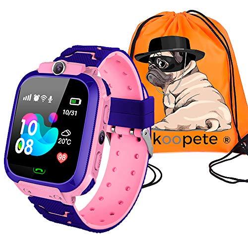 Koopete.Smartwatch niños.Regalo de Mochila.Reloj Inteligente niños con localizador LBS,cámara Fotos,Llamadas,botón SOS,Pantalla táctil,Juego,Despertador,Linterna. (Rosa)