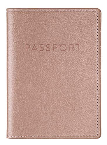 Eccolo Travel Passport Cover Case with Storage Pocket, Rose Gold Leatherette