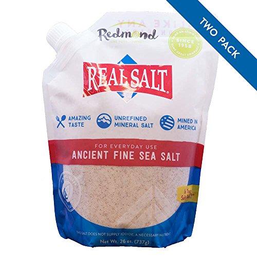 Redmond Real Salt, Ancient Fine Sea Salt, Unrefined Mineral Salt, 26 Ounce, Pack of 2