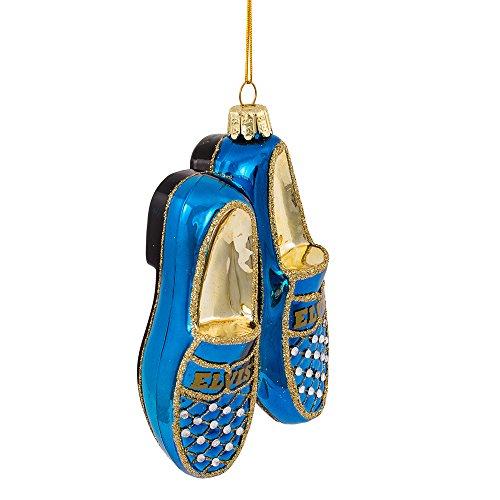 Kurt Adler 5' Elvis Blue Suede Shoes Glass Ornament