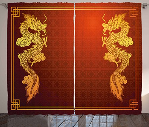 Ambesonne Dragon Curtains, Chinese Heritage Historical Eastern Motif with Creature Design, Living Room Bedroom Window Drapes 2 Panel Set, 108' X 84', Orange Yellow