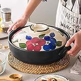 CHFQ Cazuela Japonesa de cerámica para ollas Calientes, cazuela Redonda con Cubierta, Olla para estofado Lento Saludable, Olla nutritiva Resistente al Calor, Olla para Sopa, Loza de Barro Sakura 2