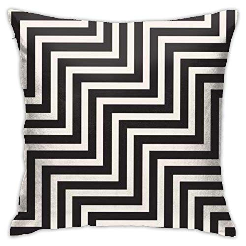 jichuang Patrón geométrico rayas elegante funda de almohada negra,funda de almohada con cremallera oculta