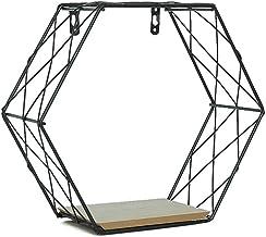 Iron zeshoekig rooster Muur Shelf Storage Rack, Combinatie Wall Opknoping geometrische figuur muurdecoratie for Woonkamer ...