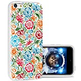 iPhone 5c Case Cool Cute,ChiChiC 360 Full Protective Anti Scratch Slim Flexible Soft TPU Gel Rubber Clear Cases Cover with Design for iPhone 5c,Red Green Sky Blue Flower on White