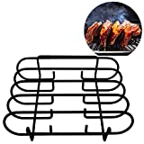 KALREDE Rib Rack BBQ - Heavy Duty Ribs Rack Holds 4 Ribs- Non-Stick Rib Racks Rib Holder for Smoking Grilling Smoker Weber Gas Charcoal Grill - Outdoor Barbecue Grill Accessories(Black)