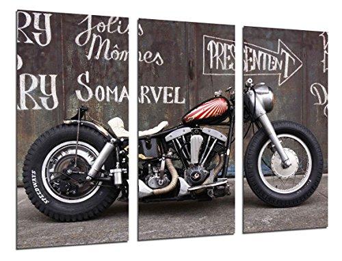 Cuadros Camara Poster Fotográfico Moto Custom Vintage, Moto Antigua Tamaño total: 97 x 62 cm XXL, Multicolor