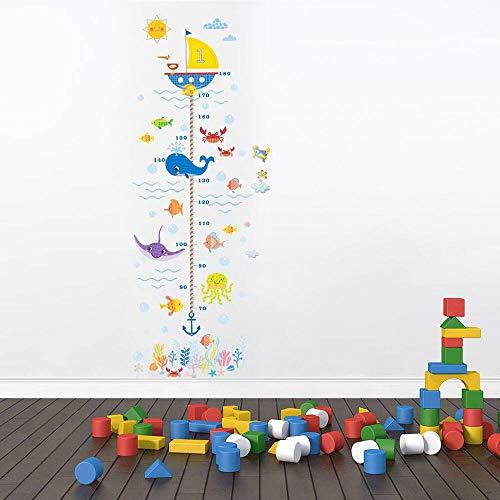 Horolas Pegatina de pared extraíble para niños con tabla de altura de crecimiento para decoración de habitación (océano)