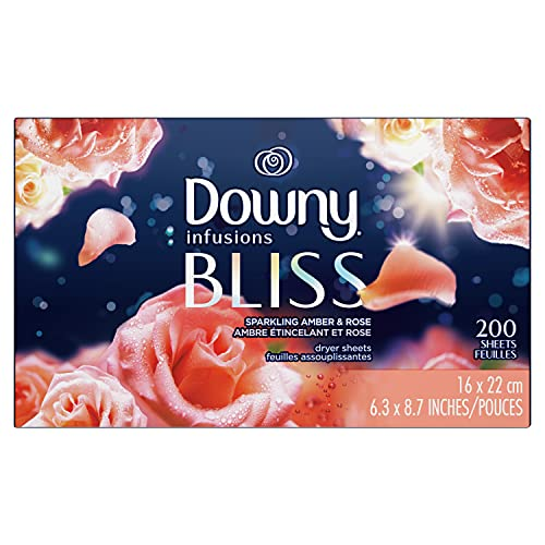 Downy Infusions Fabric Softener Dryer Sheets, Bliss, Sparkling Amber & Rose, 200 count