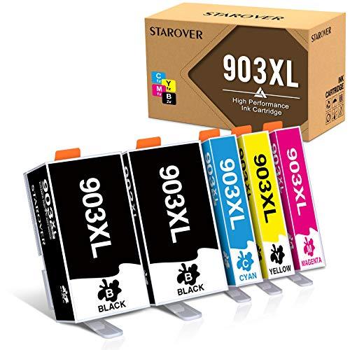 STAROVER Chip de Actualización 903XL Cartuchos de Tinta Compatible para HP 903XL 903 para Impresoras HP Officejet Pro 6950 6960 6970 (1 Negro/1 Cian/1 Magenta/1 Amarillo, Paquete de 5)