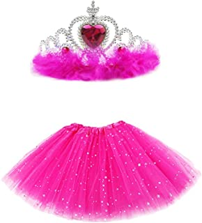 Greetuny 2pcs Newborn Outfits for Photography, Feather Rhinestone Princess Crown + Star Sequins Tutu Skirts, Cute Baby Pri...