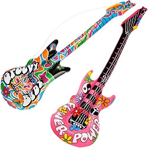 com-four® 2X aufblasbare Gitarren im Hippie-Look als witziges Accessoire - Luftgitarre perfekt zu Fasching, Karneval oder Halloween - Größe: ca.1 Meter [Auswahl variiert] (Luftgitarre - 2 Stück)