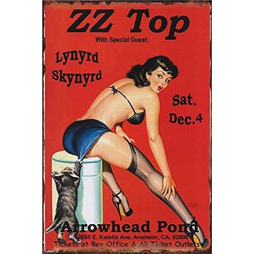 Froy ZZ Top Lynyrd Skynyrd Cartel de Chapa de Pared Cartel de...