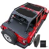 wrangler soft top - Shadeidea Jeep Wrangler SunShade JL Unlimited 4 Door Front & Rear 2 piece-Black Mesh Screen Sun shade JLU Top Cover UV Blocker with Pouch 2018+ New Model- 10 Years Warranty