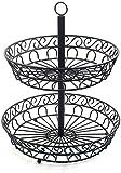 YORUKM 2 cestas de fruta, nivel de metal de almacenamiento de pan cesta de transporte de techo, ideal para frutas, verduras, aperitivos, productos para el hogar y mucho más, Negro