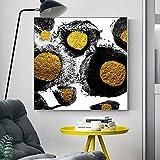 YuanMinglu Arte Abstracto Glamour, Impresiones en Lienzo Abstracto en Negro y Dorado, pósters y lienzos decoración de la Pared de la Sala Pintura Pintura sin Marco 70x70cm
