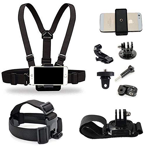 Supkeyer Cellphone Selfie Chest Mount+ Head Mount+ Wrist Mount with Clip for Gopro Hero 8 7 6 5 4 3+ 3 / Sony Action Cam/ for iPhone 12 11 Pro Max Xs Max XR X 8+ 8 7+ / Sony LG ZTE Cellphone