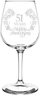 (51st) Beautiful & Elegant Floral Happy Anniversary Wedding Ring Inspired - Laser Engraved 12.75oz Libbey All-Purpose Wine Taster Glass