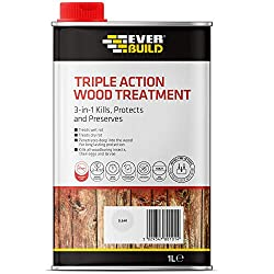 Kills and protects against wood rot, decay, fungi and wood boring insects to provide all your wood treatment and preservation needs Suitable for interior and exterior use on items like sheds, garages, fencing, roof beams, garden furniture, floorboard...