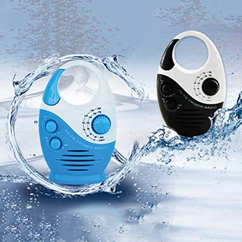 Lionina Wasserdichtes Duschradio, 3 V, 0,5 W, Dusche mit einstellbarem Volumen, AM-FM-Tastenlautsprecher, Bad-Duschlautsprecher, Drahtloses Radio mit oberem Griff(Schwarz und weiß)