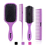 4Pcs Hair Brushes for Women, Hair Comb for Women and Detangling Paddle Brush, Great On Wet or Dry Hair, No More Tangle Hair Brush Set for Straight Long Thick Curly Natural Hair (Purple)