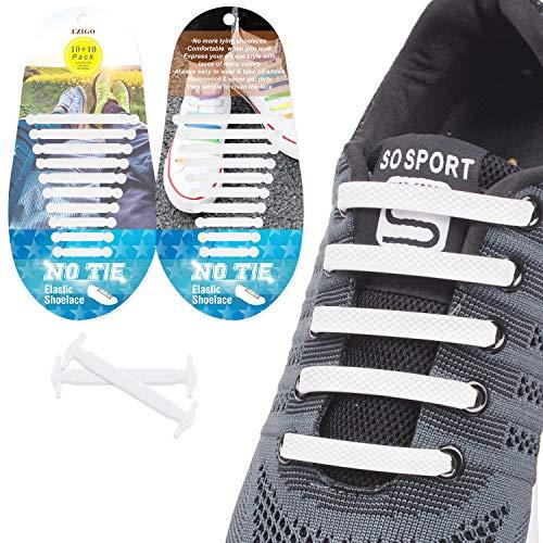 EZIGO 10+10 No Tie Shoelaces Upgraded Elastic Shoelaces for Adults/Kids Tieless Elastic Shoe Laces Waterproof Rubber Shoelaces for Sneakers Boots 20 Shoelaces White