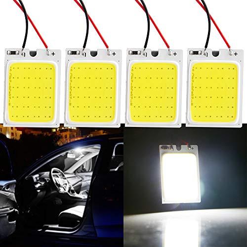 Grandview 4pcs Panel Blanco Luz LED COB de Ahorro de Energía 24-SMD Luces de Techo Luces Interiores de Automóviles Luces de Lectura Luces de Techo con 3 Adaptadores Garantía de 2 Años