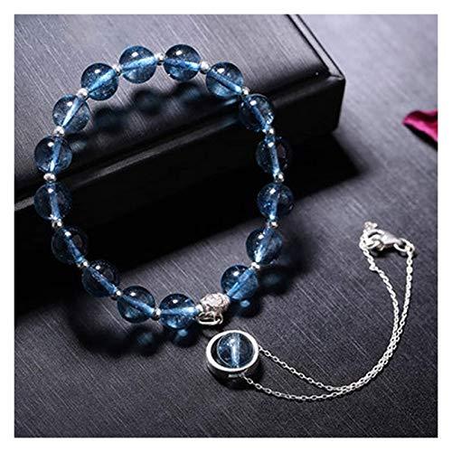 Feng shui Buena suerte pulseras natural azul cristal s925 plata doble círculo cuentas redondo encantos pulsera afortunado regalos chinos para hombres mujeres curación atraen dinero para buena fortuna