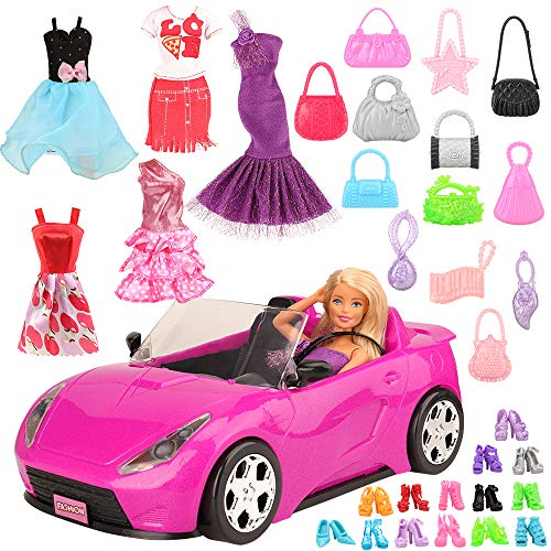 Miunana Juego de 26 piezas de coche para muñecas = 1 vehículo + 5 ropa + 10 bolsos + 10 perchas para muñecas de niña de 11,5 pulgadas.