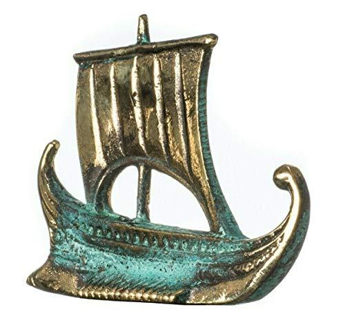 BeautifulGreekStatues Navire Argo de Jason & Argonauts Bronze Massif Patiné Or Vert Figurine 3.3inches