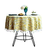 Cotton Linen Vintage Tablecloth with Multi-Tassels for Home Tabletop Decoration (Yellow, Round - 43')