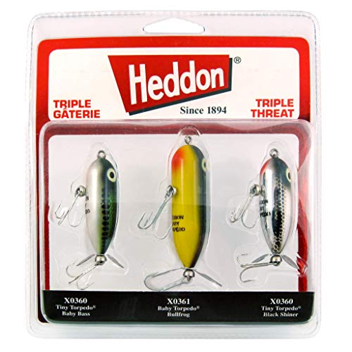 Heddon Torpedo Prop-Bait Topwater Fishing Lure with Spinner Action, Triple Threat 3-Pack, Triple Threat 3-Pack
